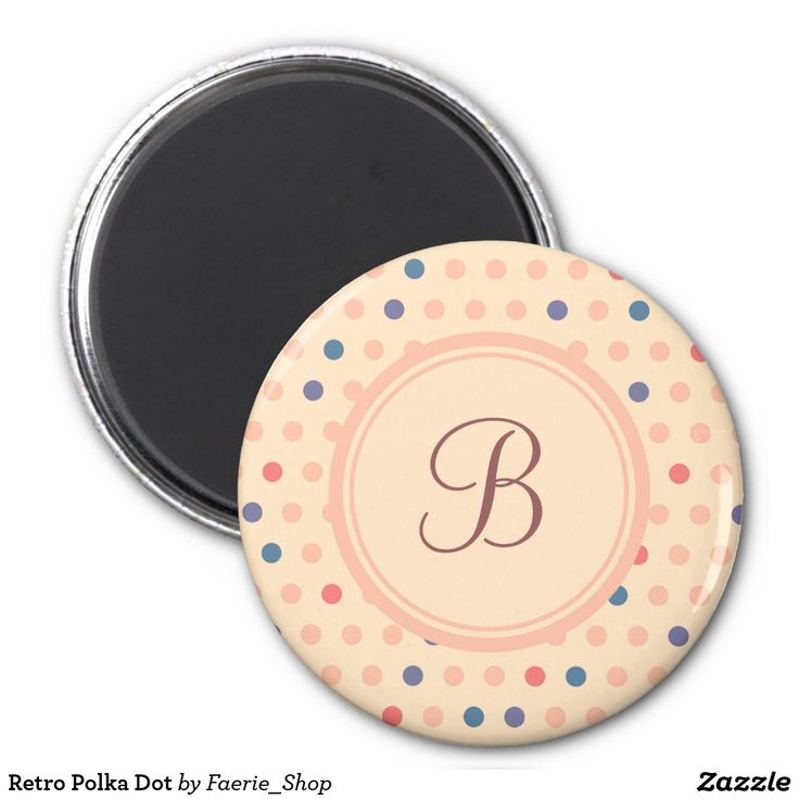 Retro Polka Dot Magnet #faerieshop #vintage #circle #polka #dot #trendy #pattern #retro #monogram #geometric #monogram #style #simple #abstract #old #design #beige #peach #red #blue #beautiful #fashion #modern #print #background #sale #zazzle #monogram #edit #customizable #gift #present