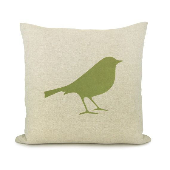 16x16 bird pillow cover shabby chic decorative throw pillow natural pillow cover with