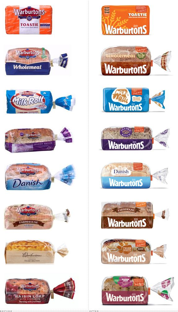 Old vs. New #packaging for Warburtons bread PD