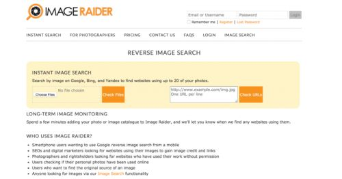 Image Raider is a really sweet reverse search tool for finding out where the images on your site are being used around the web. All you have to do is upload your image file, get the search started and instead of using search words it will deliver search results of every location of your site's graphics. Then all you need to do is contact the site's administrator and request a backlink in return for use of the image #seo #backlinks #linkbuilder #imageraider
