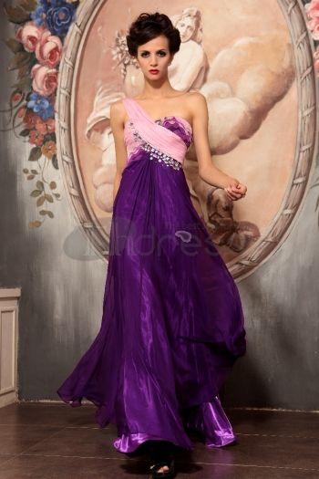 Abiti in Magazzino-La spalla viola elegante lungo tratto del vestito da sera di alta qualità
