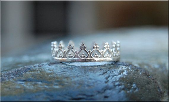 Princess Crown Ring Sterling Silver Stacking by thewrappedpixie