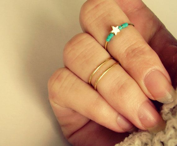 Ragazzi gioielli turchese Knuckle anelli set di 3 anelli di Midi impostare…
