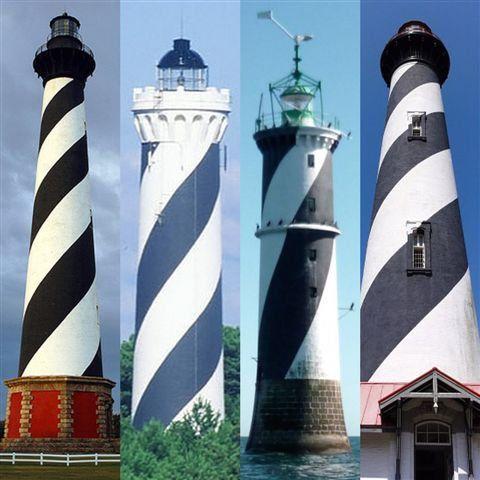 Les jumeaux du phare du plateau du Four dans le monde (1 île d'Hatteras en Caroline du Nord - 2 Contis plage France - 3 Du four - 4 île Anastasia, à Saint-Augustine en Floride)