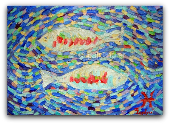 oilPisces Signoriginal Free shipping by ORIGINALsPAINTINGS on Etsy, €185.00