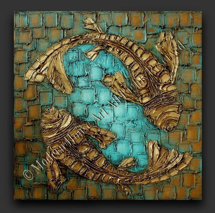 Abstract koi fish textured paintings