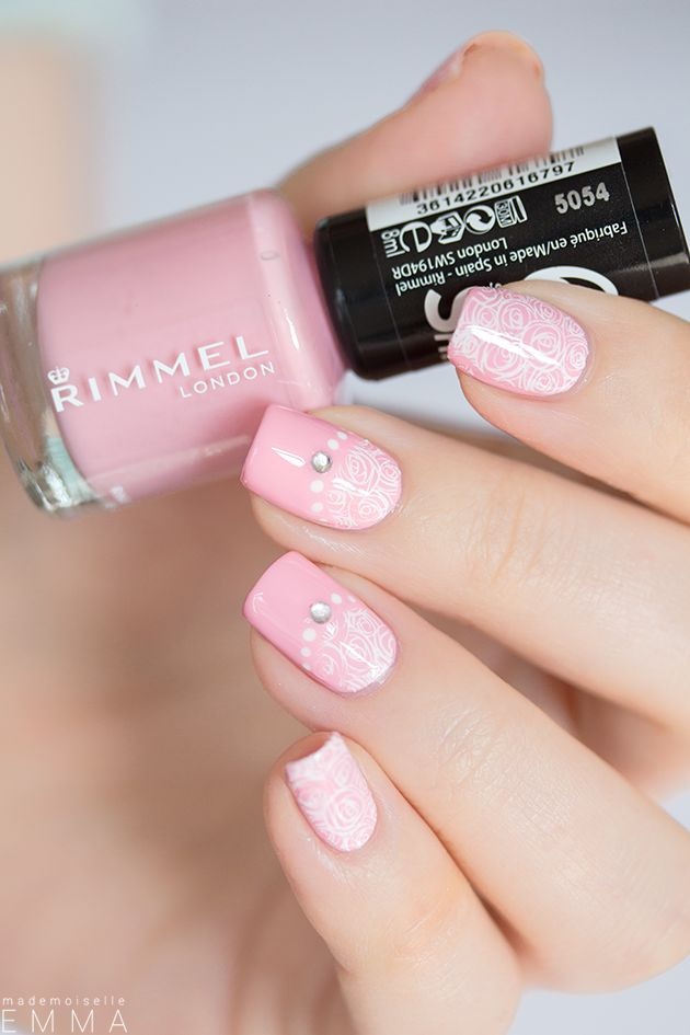 Pink nails with white lace