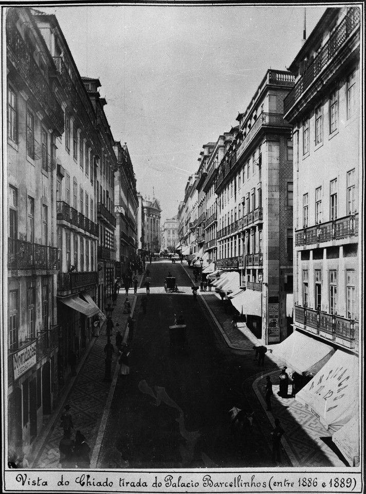 O Chiado a partir do Palácio Barcelinhos, entre 1886/1889