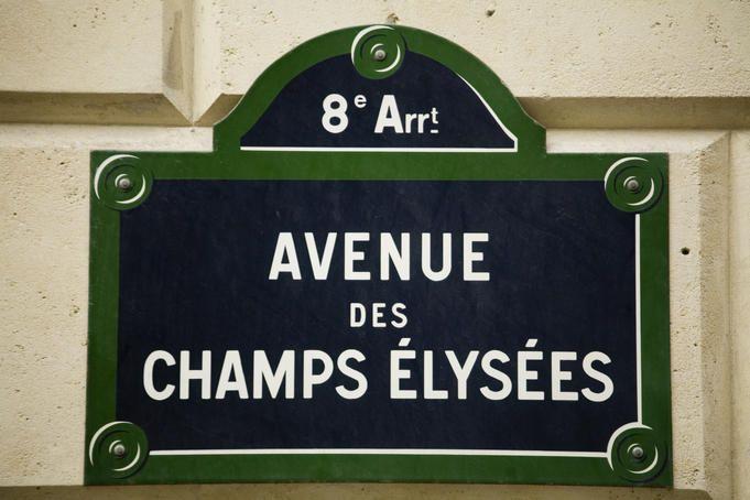 Avenue des Champs Elysees, France Street sign along Avenue des Champs Elysees.
