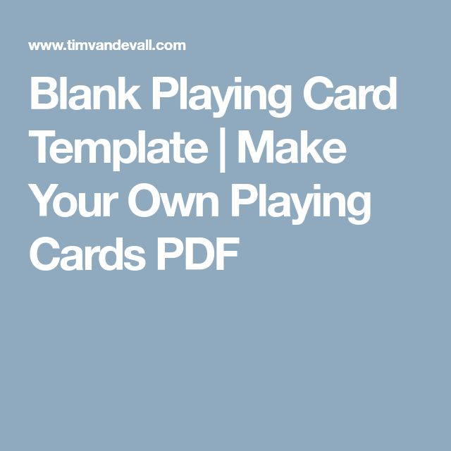 Blank Playing Card Template | Make Your Own Playing Cards PDF