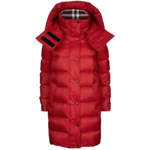 Burberry Hooded Down Puffer Jacket ($1,005) ❤ liked on Polyvore featuring outerwear, jackets, red hooded jacket, feather jacket, red puffer jacket, red puffy coat and checked jacket