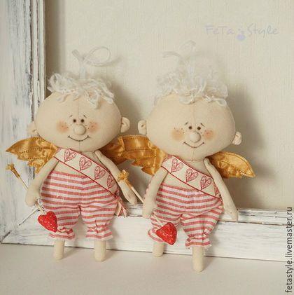 Купить или заказать Амурчик Текстильная кукла-подвеска Подарок влюбленным в…