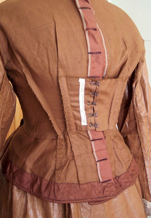 1874 Kate Pendergast dress. Bodice turned INSIDE OUT to show all the construction details.