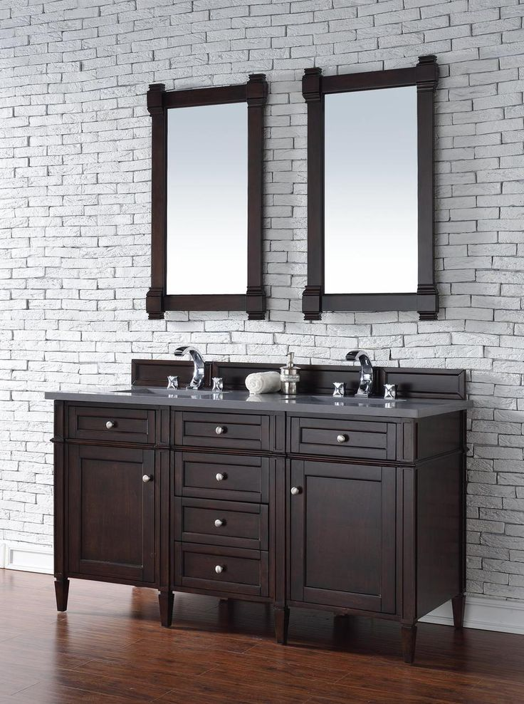 Contemporary 60 Inch Double Sink Bathroom Vanity Mahogany Finish,  Http://www.