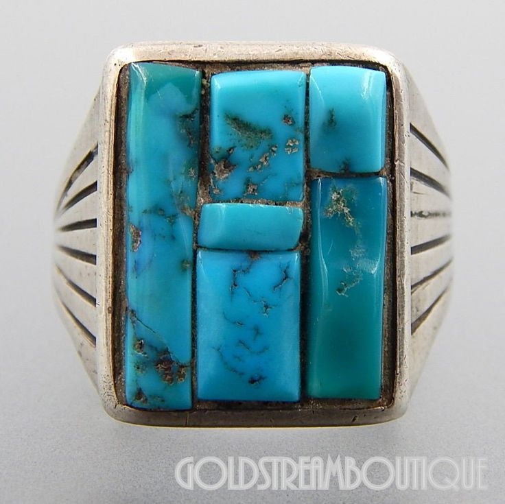 NATIVE AMERICAN VINTAGE NAVAJO STERLING SILVER TURQUOISE INLAY RIBBED MEN'S RECTANGULAR RING SIZE 11.75