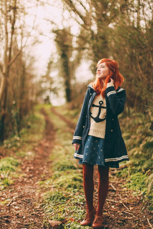 Love the coloured tights with this outfit. The Clothes Horse: Outfit: Anchor's Away