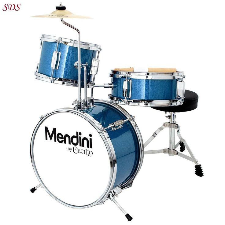 Kids Drum Set Throne W/ Adjustable Cymbal Pedal Drumsticks Metallic Blue 3 Piece #MendinibyCecilio