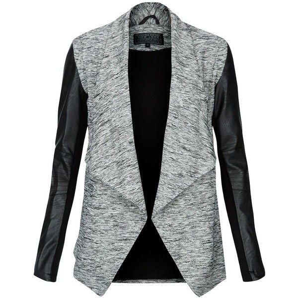 Grey Leather-Look Sleeve Waterfall Jacket (€9,61) ❤ liked on Polyvore featuring outerwear, jackets, blazers, coats, casacos, gray faux leather jacket, sleeve jacket, grey faux leather jacket, synthetic leather jacket and parka jacket