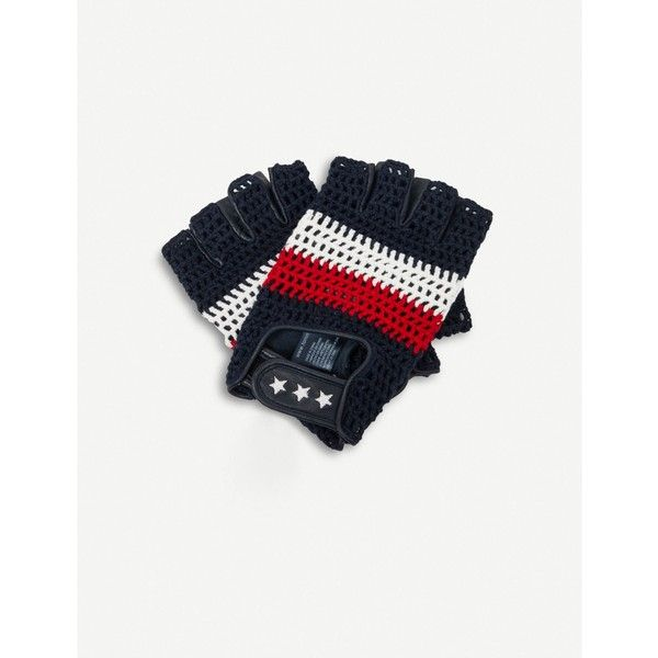 TOMMY HILFIGER Tommy Hilfiger X Gigi Hadid racing gloves ($82) ❤ liked on Polyvore featuring accessories, gloves, striped gloves, tommy hilfiger and crochet gloves