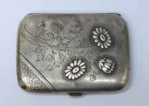 Vintage-Silver-800-Stamped-Cigarette-Case-3-x-2-2-2-oz-Hand-Carved-Flowers