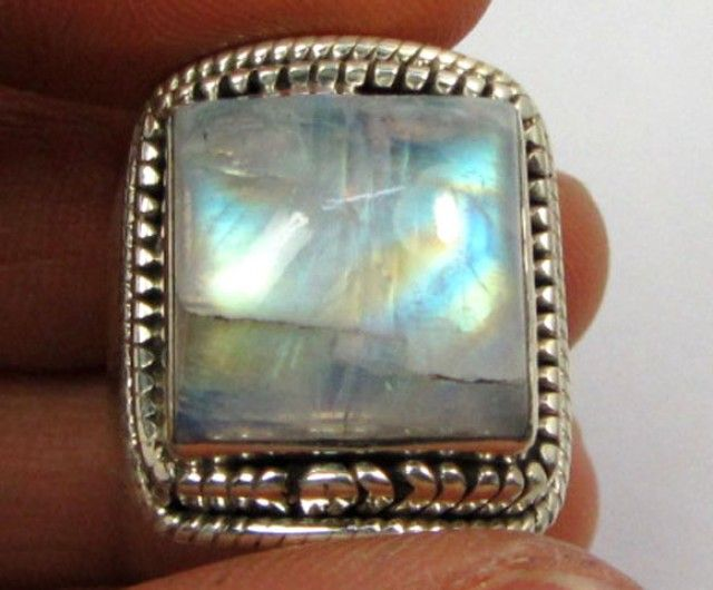 LARGE MOONSTONE SILVER RING SIZE9.5    GG 1010  LARGE NATURAL MOONSTONE GEMSTONE RING SET JEWELLERY FROM GEM TRADERS,AT GEMROCKAUCTIONS