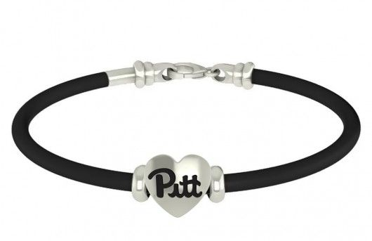 Our Pittsburgh Panthers rubber bracelets are made with a high quality solid sterling silver charm. Our bracelets have the finest detail and are the highest quality of any college bracelet available. In stock for fast shipping and if for some reason you don't like it? Send the bracelet back for a full refund.