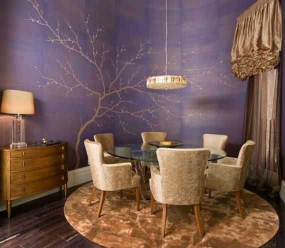 Love The Tree On Te Purple Wall Contemporary Dining Room By Peg Berens Interior Design LLC