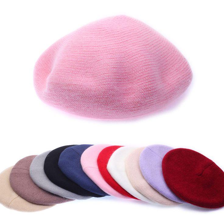 Womens Ladies Angora Knitwear Beret French Artist Beanie Warm Soft Solid Cap Hat #hellobincom #AngoraKnitwearBeret