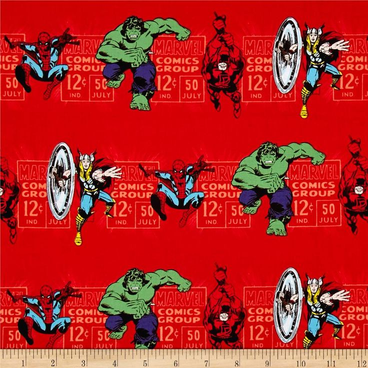Marvel Comics Price & Hero Stripe Red from @fabricdotcom  Designed by Marvel Comics and licensed to Camelot Fabrics, this cotton print fabric features stripes of superheroes in action! Perfect for quilting, apparel and home decor accents. Colors include shades of red, peach, black, white, shades of blue, purple, green, nude and yellow.
