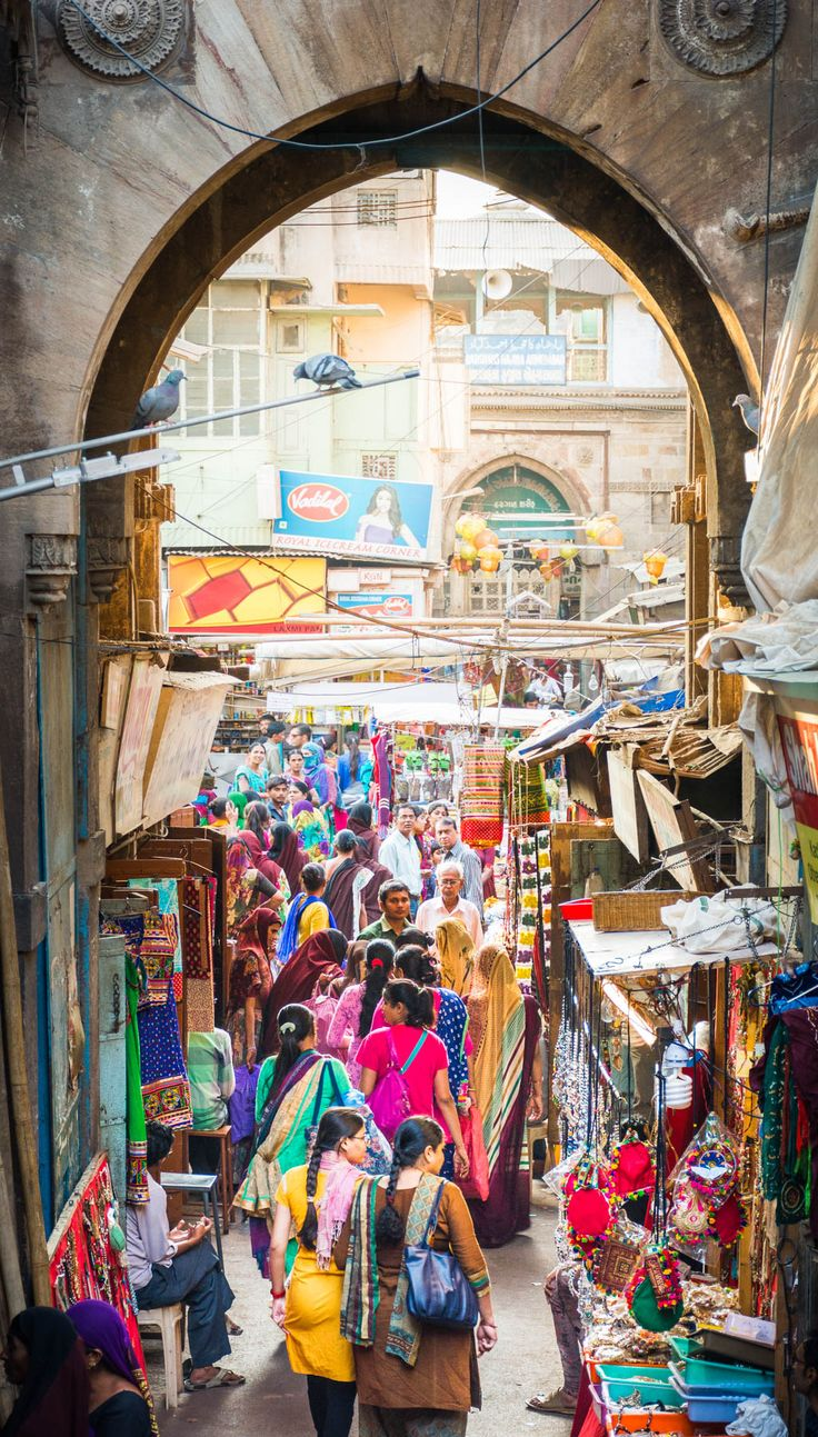 The bustling and colorful Manek Chowk bazaar in Ahmedabad, the capital of Gujarat state in India. Gujarat is an underrated state that must be visited by anyone traveling to India!