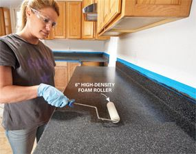 an inexpensive fix to outdated countertops. Would love to do this in my upstairs bathroom.