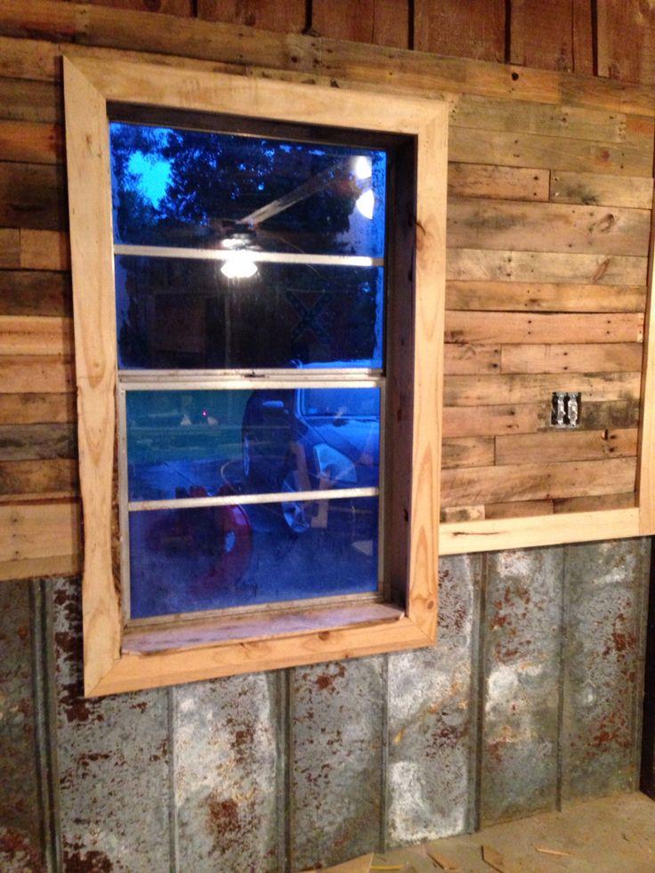 Attractive Metal Chair Rail Ideas Part - 5: Pallet Walls, Tin Chair Rail, Cedar Accent, U0026 White Pine Trim