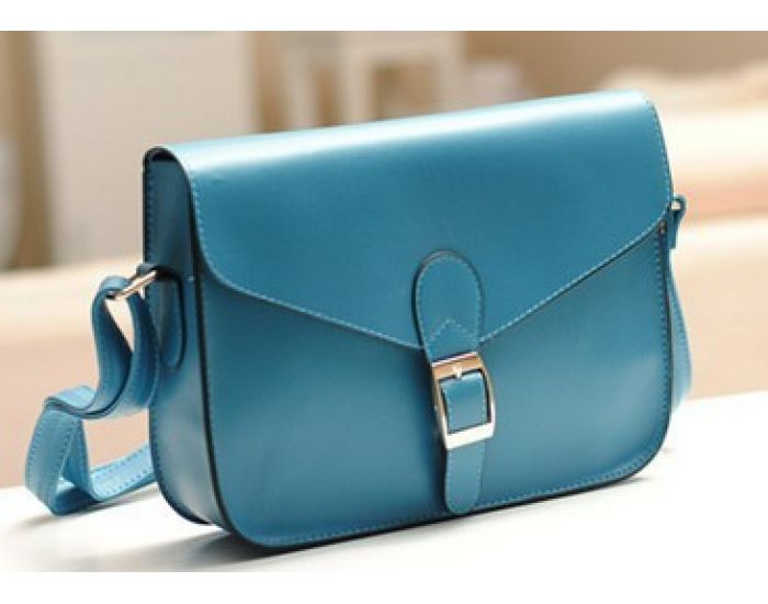 Stylish Medium Size Across Body Handbag - BLUE