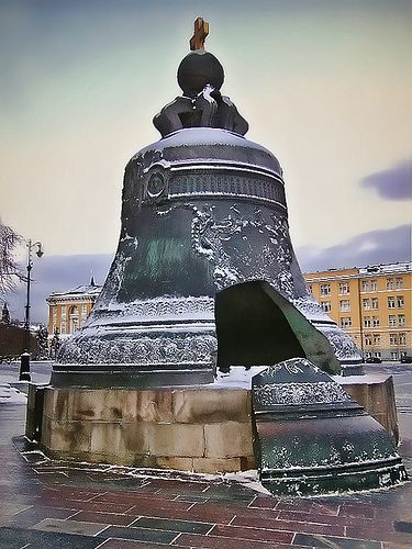The Tsar Bell also known as the Tsarsky Kolokol, Tsar Kolokol III, or Royal Bell, is a 6.14 metres (20.1 ft) tall, 6.6 metres (22 ft) diameter bell on display on the grounds of the Moscow Kremlin. The bell was commissioned by Empress Anna Ivanovna, niece of Peter the Great. The present bell is sometimes referred to as Kolokol III (Bell III), because it is the third generation.