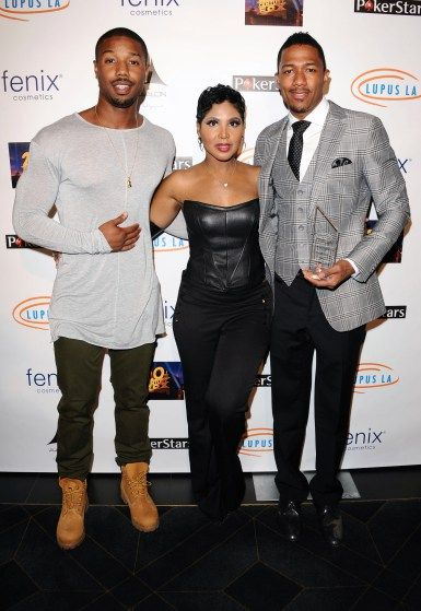 Michael B. Jordan, Toni Braxton and Nick Cannon at the Get Lucky for Lupus annual poker tournament