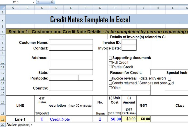 credit notes template in ms excel format