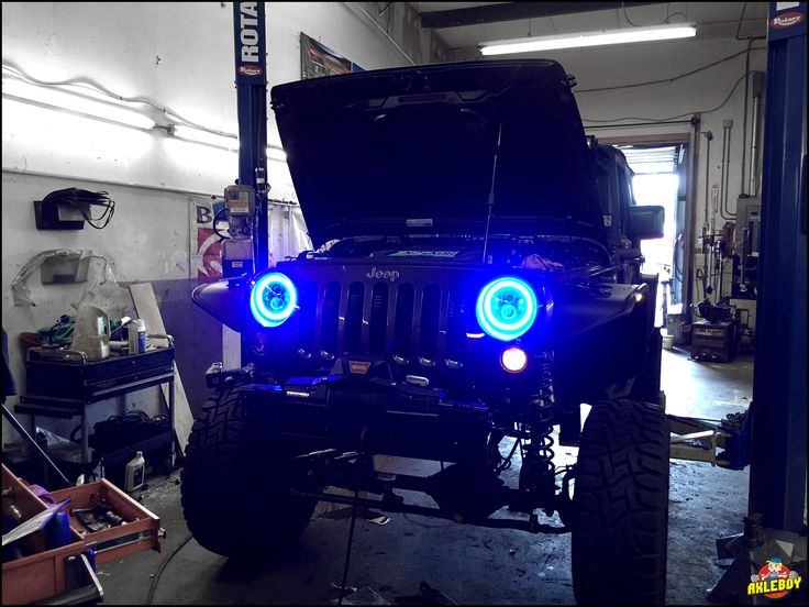 Blue halo headlight installation on a 2016 Jeep Rubicon. ______________________________________________________ #Axleboy #offroad #Jeep #Wrangler #blue #lifted #rubicon #halo #oracle #lighting #jk #jeeplife #stl #stpeters #missouri #jeepshop #mechanic #4x4 #4wd #jeepthing #olllllllo