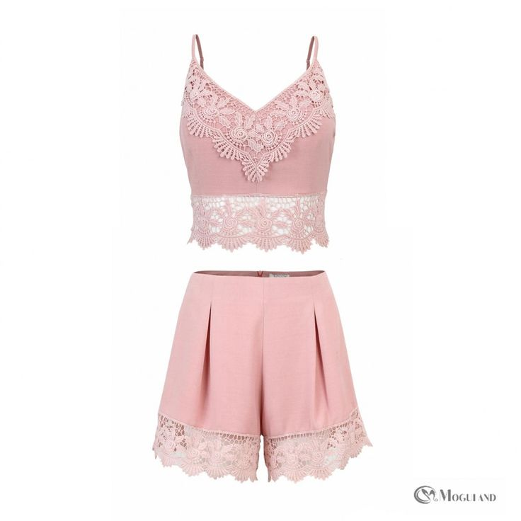 pink strappy top and shorts co-ord set front