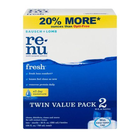 ReNu Clean, Disinfects, Rinses and Stores Soft Contact Lenses - 2 PK, 12.0 FL OZ, Multicolor
