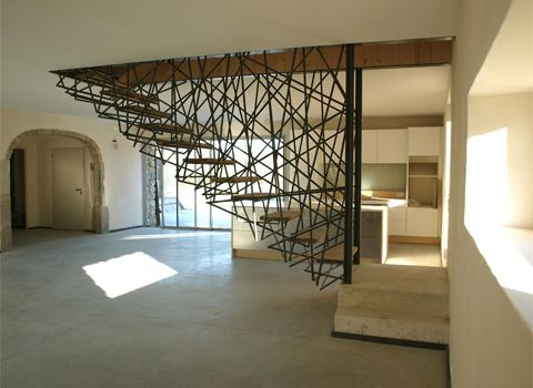 crazy stairs!Floating Stairs, Contemporary Interiors Design, Birds Nests, France, Architecture, Stairs Design, Stairways, Floating Staircases, Rustic Home