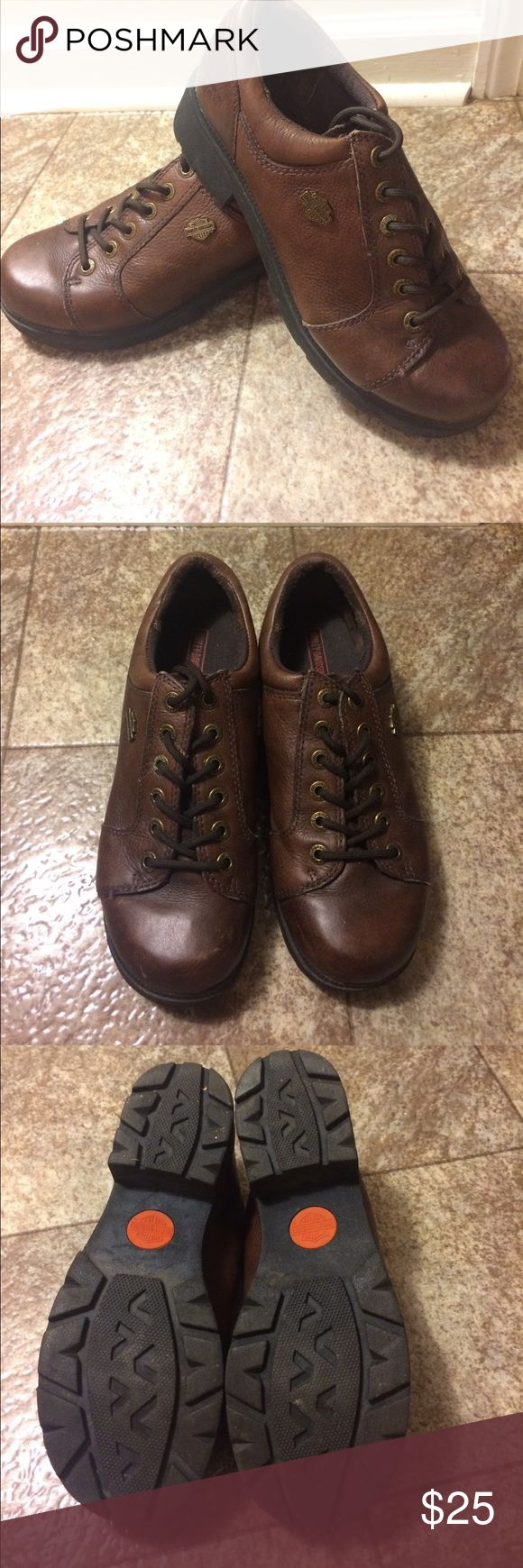 Harley Davidson Shoes size 9 great condition Brown. Hardly wore at all. See pic for wear on toes. Harley-Davidson Shoes
