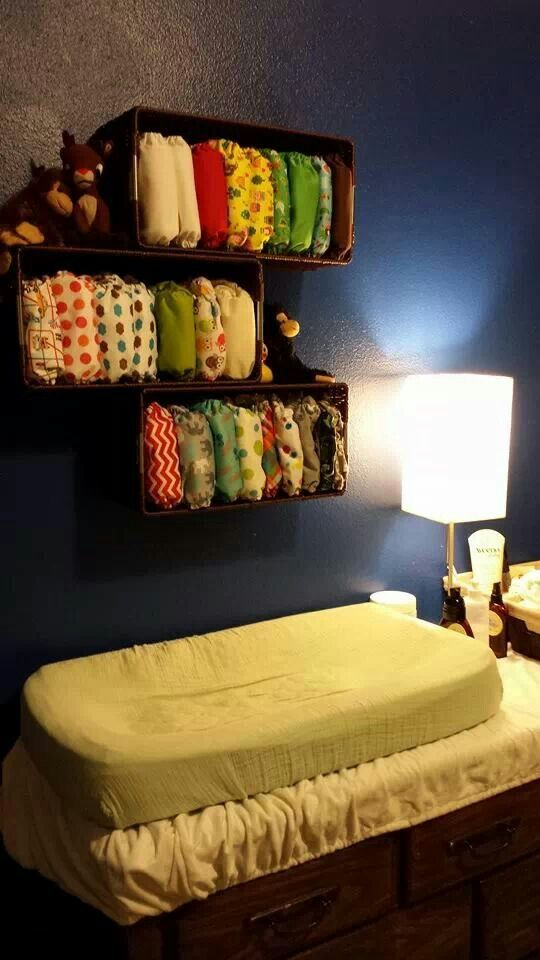 Cloth diaper storage, floating shelves diapers, solution and toy for Kameron