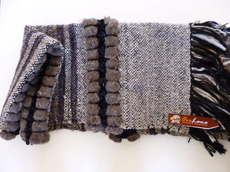 Piecera lana de oveja, gris- blanco y negro
