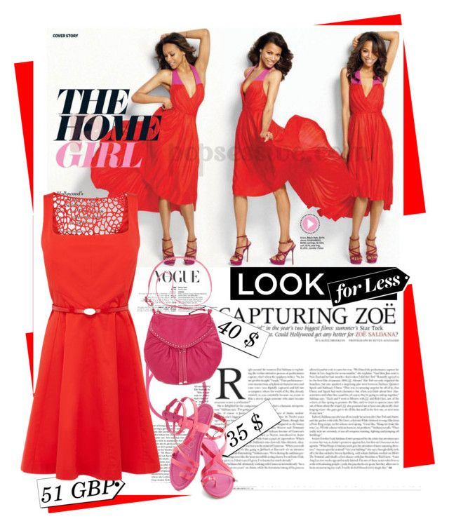"""The Look for Less: Summer Dress alike Zoe Saldana"" by ellie366 ❤ liked on Polyvore featuring Oasis, Ecko Red and LookForLess"