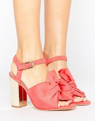 Lost Ink Bow Block Heeled Sandals