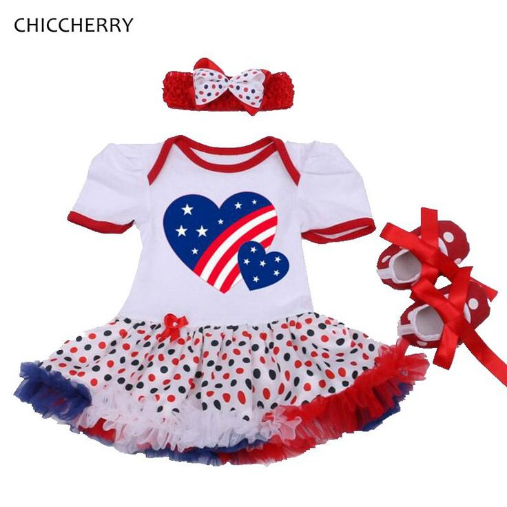 Love America Baby Girl 4th Of July Outfits Romper Party Dresses Crib Shoes Headband 3PCS Newborn Tutu Sets Girls Clothes 2016 #Affiliate