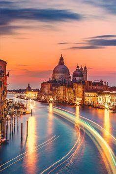 Grand Canal and Salute, Venice, Veneto, Italy.