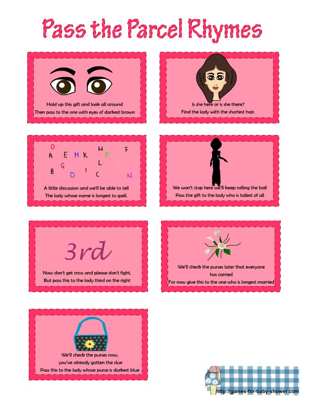 free printable rhymes for pass the parcel game in pink color