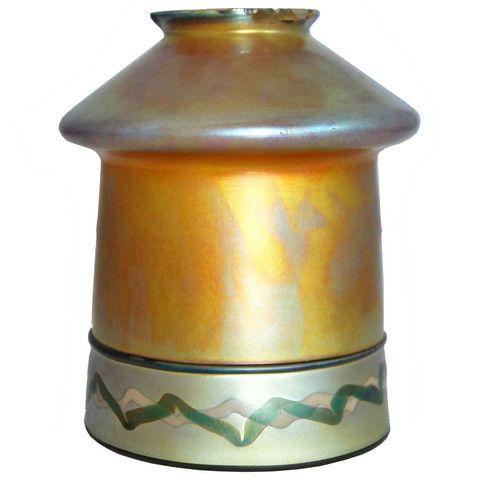 American Steuben Carder Period Gold Aurene Art Glass Lamp Shade