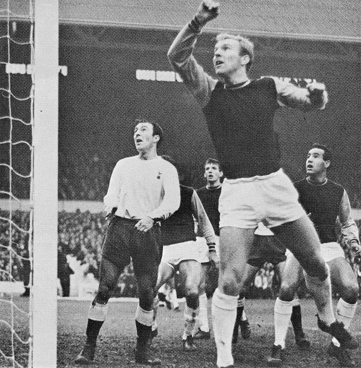 12th November 1966. West Ham United captain Bobby Moore pushes the ball over the bar with his arm but Tottenham's Jimmy Greaves fails to score from the resulting penalty, at Upton Park.